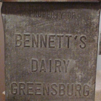 Bennett's Dairy Greensburg, PA Milk Box and Bottles