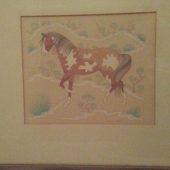 """Spotted Pony"" Print by Harrison Begay, 1952 - Native American"
