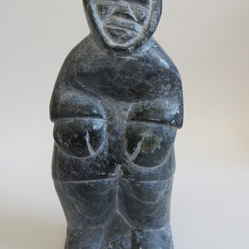 "Eskimo Stone Carving, Man~8+"" high~Signed and numbered - Native American"