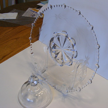 Crystal relish tray with cover for center. - Glassware