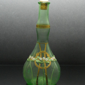Bohemian enameled uranium glass barbers bottle - Art Glass