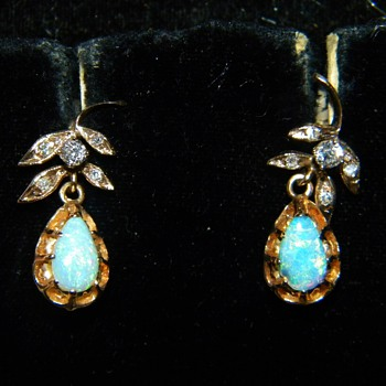 Antique Victorian Semi-Black Opal OMC Diamond 15k Earrings
