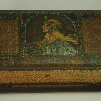 1923 Whitman's Sampler Candy Tin with art by Mucha - Art Nouveau