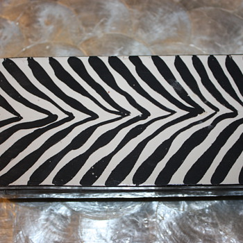 Mid Century Zebra Striped Cigarette Box - Tobacciana