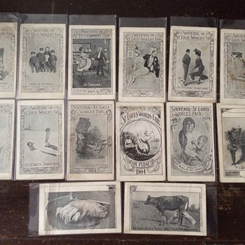 1904 St. Louis World's Fair Souvenir Risqué Card Set - Cards