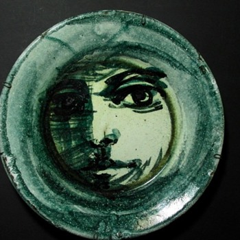 hand painted studio art portrait plate - Pottery