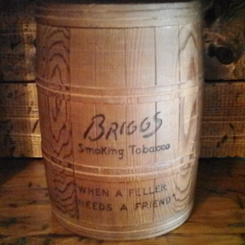 Advertising canister for Briggs tobacco