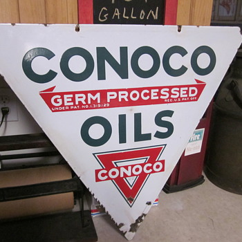 Conoco Double Sided Porcelain Sign - Petroliana