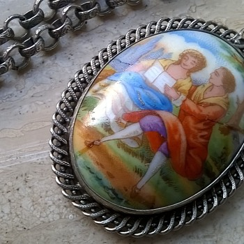 1970s (I Think) Limoges France Porcelain Pendant Necklace 95 Cents - Costume Jewelry