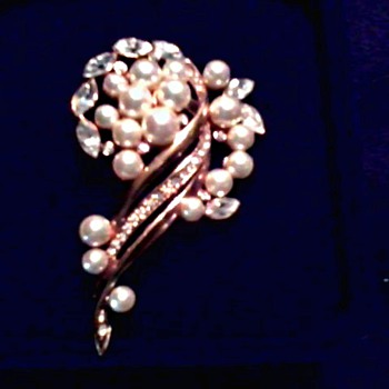 "Asian Faux Pearl and Rhinestone Brooch/Original Box - ""Avon"" Blue Enamel Egg Pendant - Costume Jewelry"