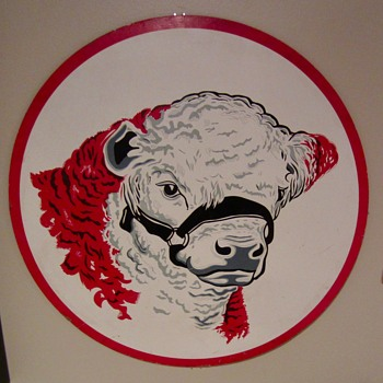 1950s Cow masonite sign - Signs