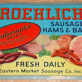 Froehlich's Sausage Hams and Bacon Tin Sign - Signs