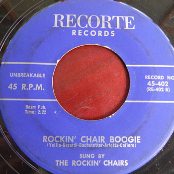 "1958 The Rockin' Chairs ""Rockin' Chair Boogie"" b/w ""A Kiss is a Kiss"" 45rpm"