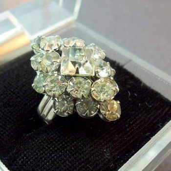 Clear Rhinestone Adjustable Ring - Costume Jewelry