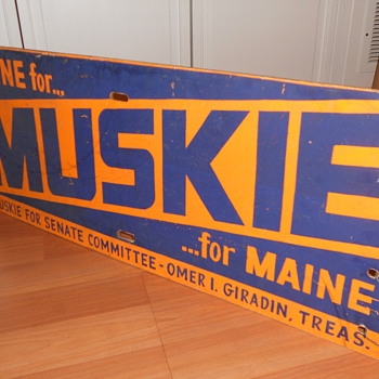 Ed Muskie Campaign Sign (Original)
