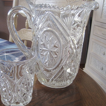 Vintage Cut Glass Pitcher & Glasses Set