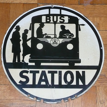 New Jersey Bus Stop Sign Porcelain 1940's - Signs