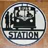 New Jersey Bus Stop Sign Porcelain 1940&#039;s