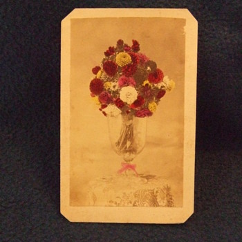 CDV still life of Vase with tinted flowers