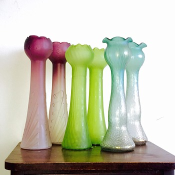 "Rindskopf & Kralik  Trio of Hyacinth Pairs Vases 13-14"" - Art Glass"