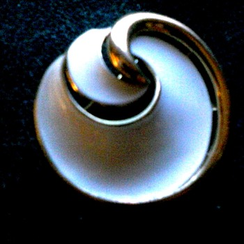 """Crown Trifari"" White Enamel 2"" Spiral-Pinwheel Brooch/ Circa 20th Century"