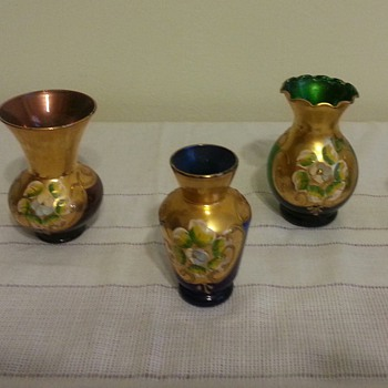Beautiful small Bohemian? bud vases