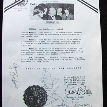 Beatles Proclamation...New Orleans...1964 - Music