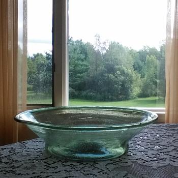 Amelung/New Bremen free blown glass milk pan circa 1790-1826????