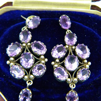 Antique Victorian Amethyst &quot;Rose De France&quot; 835 Silver Earrings Germany - Fine Jewelry
