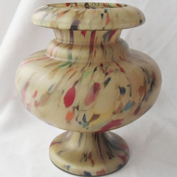 Part 2: Latest Fave Czech Art Deco Amber Spatter Glass Vase & More - Art Glass