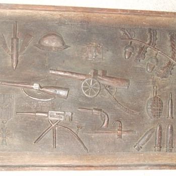 WW1 Trench Art relief carved wood plaque