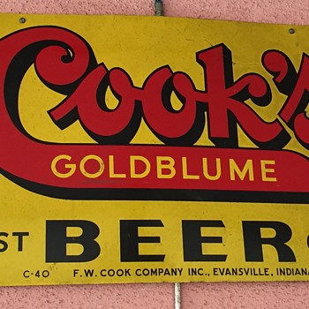Cook's Goldblume Beer, Evansville, IN - Signs