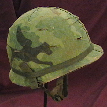 U.S. Army M-1 Airborne Helmet with a 1967 Mitchell Helmet Cover  - Military and Wartime