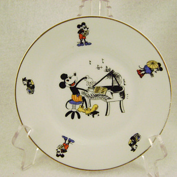 1930's Mickey Mouse Bavarian China Plate - China and Dinnerware