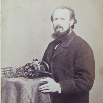 CDV of an early inventor with model - Photographs