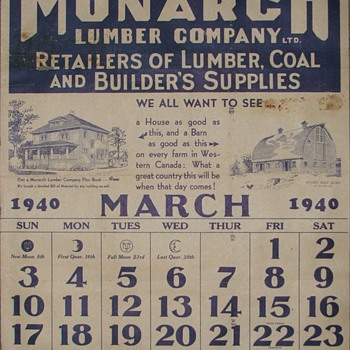 1940 Calendar page - Advertising