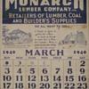 1940 Calendar page