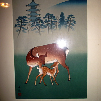 Asian Painting of a Mother Deer and Fawn - Asian