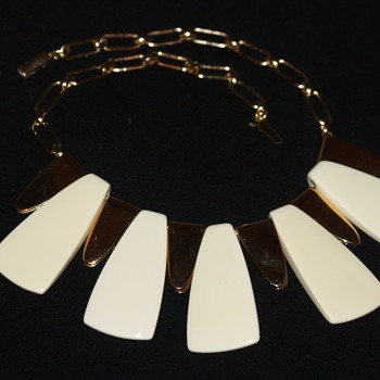 Vintage Plastic and Gold-Tone Metal Bib Necklace - Costume Jewelry