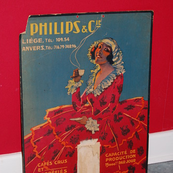 Philips café coffee cardboard poster - Advertising
