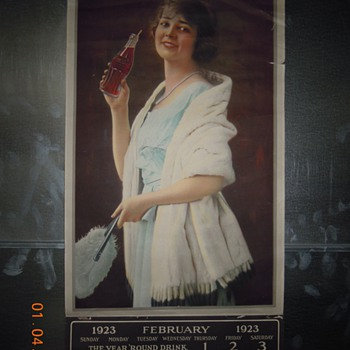 Classic Coca-Cola Calendar, 1923, with Bottle - Coca-Cola