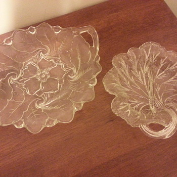 Pair of clear Indiana glass Co. floral/leaf design dishes