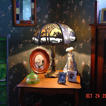 Slag Glass Lamp...Six Panels...Dated July 6, 1909