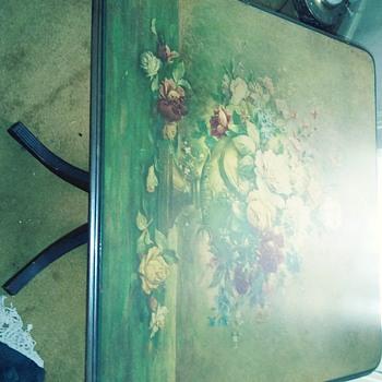 Vintage flip down floral card table