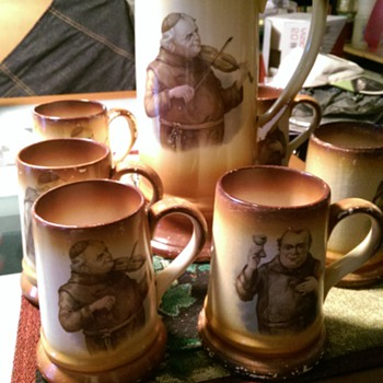 Antique Priest Pictcher and mugs