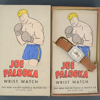 1947 Joe Palooka Boxing Comic Watch by New haven in Original Box - Wristwatches