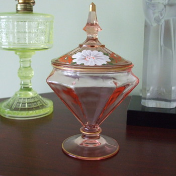 Pink Enamelled Panelled Covered CANDY DISH- Bohemian or N. American?