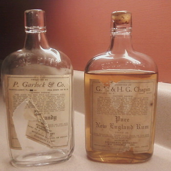 Pre-Prohibition Rum and empty Brandy bottle -Dougherty Distillery 