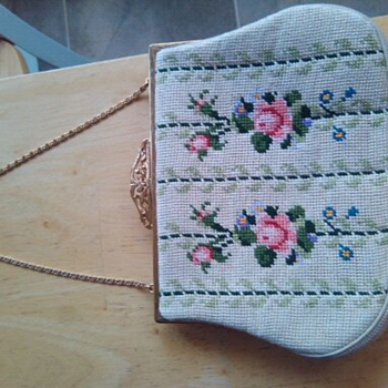 Handmade Needlepoint clutch with possible real gold chain handle - Bags