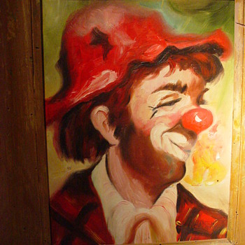 "Clown paintings found in South California 1944 signed Patrich ""From a Julian Original"" Hand written on back"